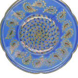 BLUE & GOLD LUSTREWARE SHALLOW BOWL - Pottery