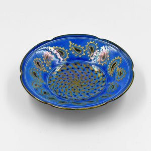 BLUE & GOLD LUSTRE WARE SHALLOW BOWL