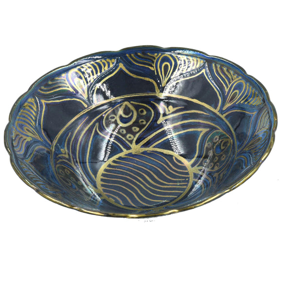 DARK BLUE & GOLD LUSTRE WARE BOWL