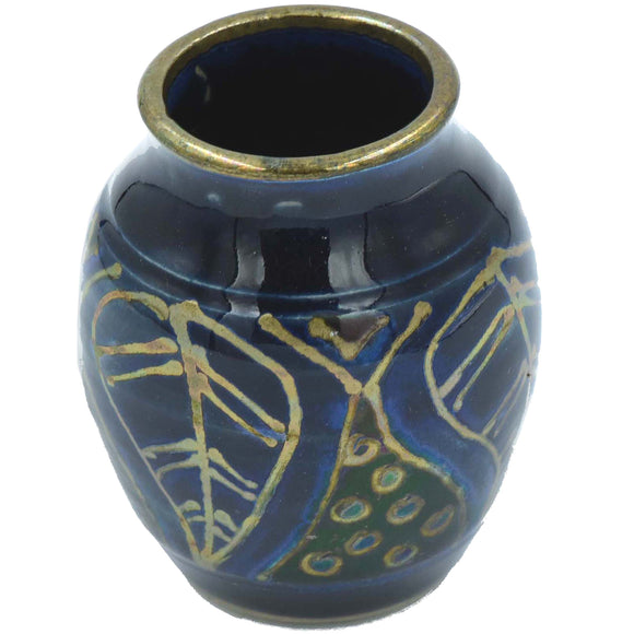 DARK BLUE & GOLD SMALL LUSTRE WARE VASE