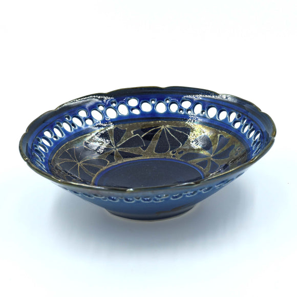 BLUE & GOLD LUSTREWARE BOWL - Pottery