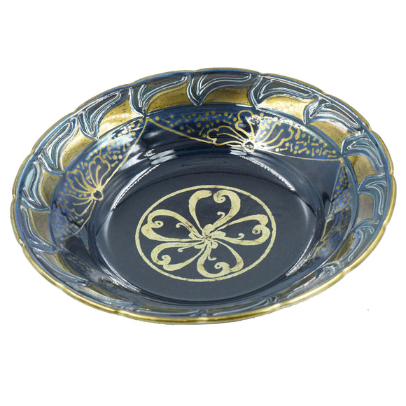DARK BLUE (Black) & GOLD LUSTREWARE BOWL