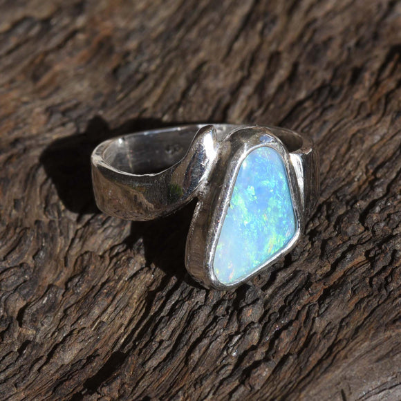 TRIANGULAR BOULDER OPAL set in Argentium Silver Ring