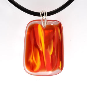 RED YELLOW & ORANGE ARTISAN  GLASS PENDANT WITH SILVER BAIL