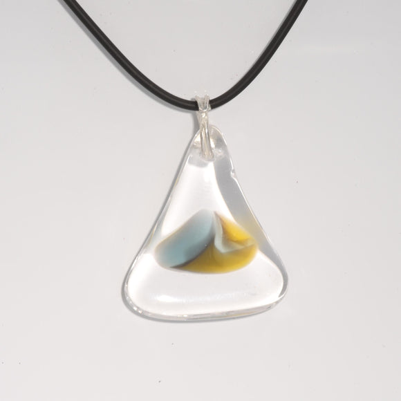 TRIANGULAR ARTISAN GLASS PENDANT WITH ARGENTIUM SILVER BAIL
