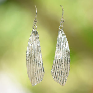 PALM LEAF EARRINGS in Argentium Silver