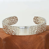 ORGANIC SILVER BANGLE cast in Argentium Silver - Seaweed Pattern - Medium Size 2