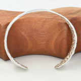 ORGANIC SILVER BANGLE cast in Argentium Silver - Seaweed Pattern - Medium Size 3