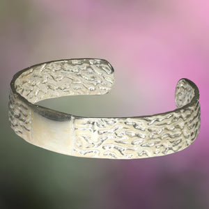 ORGANIC  ARGENTIUM SILVER Bangle Cast from Dry Seaweed