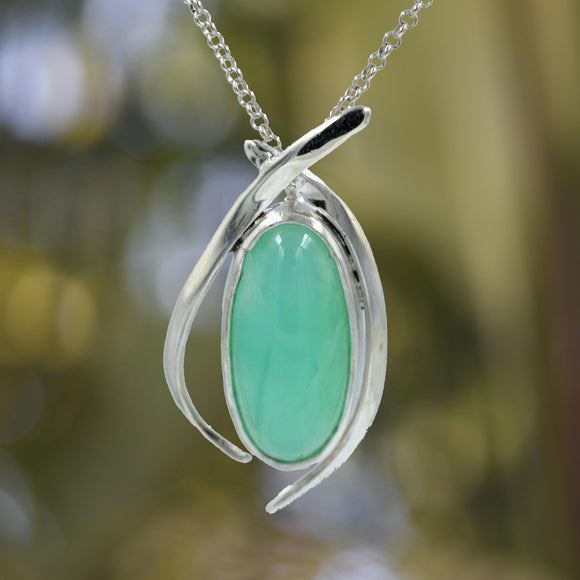 OVAL CHRYSOPRASE In Argentium Silver Pendant