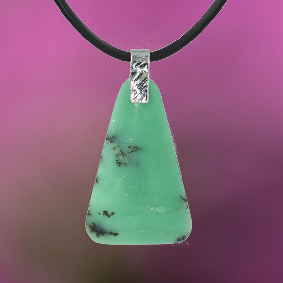GREEN CHRYSOPRASE PENDANT with Argentium Silver Bail