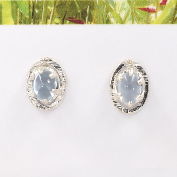OVAL BLUE TOPAZ set in Argentium Silver Stud Earrings