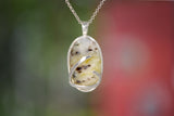 WHITE DENDRITIC AGATE with a hint of green in Argentium Silver Pendant