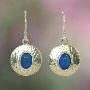 OVAL BLUE OPALS in round organically patterned Argentium Silver earrings