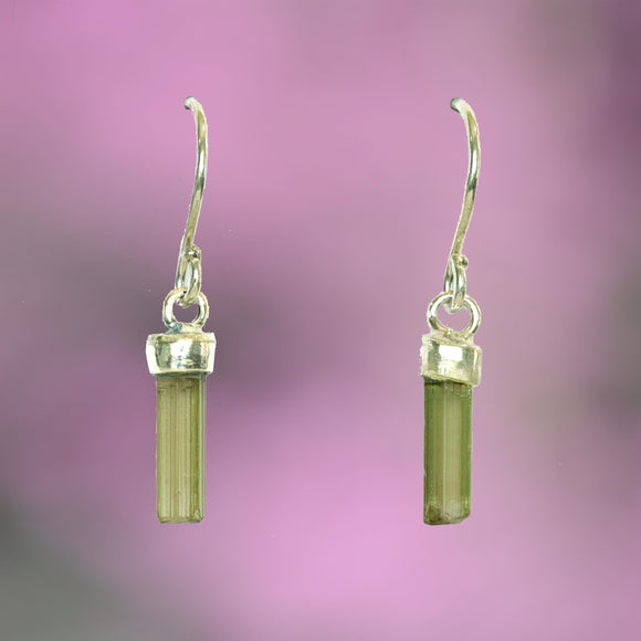 GREEN TOURMALINE CRYSTAL Earrings