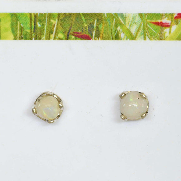 OPAL STUD EARRINGS in Argentium Silver Setting
