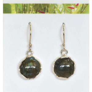 ROUND LABRADORITE IN ARGENTIUM SILVER EARRINGS