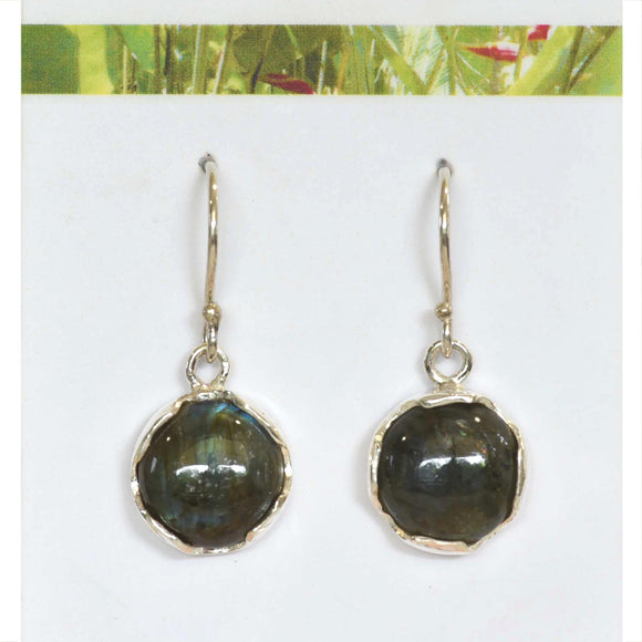 ROUND LABRADORITE Hook Earrings in Argentium Silver