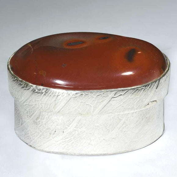 SMALL SILVER BOX with Polished Mookaite Lid