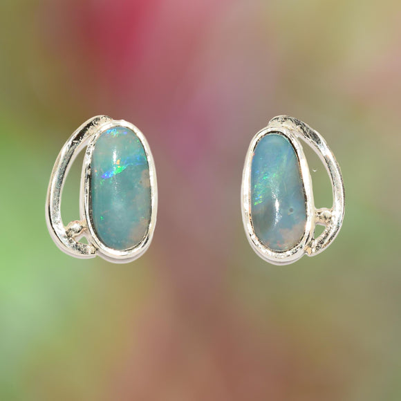 Opal & Argentium Silver Stud Earrings