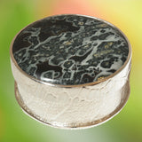 Round Silver Jewellery Box with Polished Stone Lid
