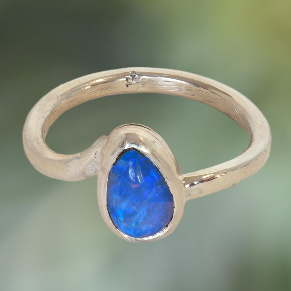 Blue Opal in Argentium Silver Ring