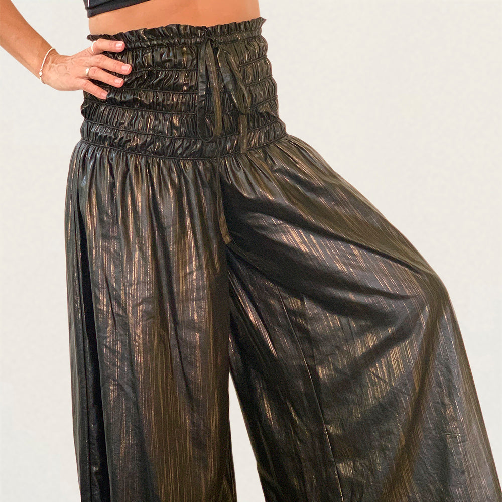 PANTALON CURRENT NEGRO METALIC GOLD @