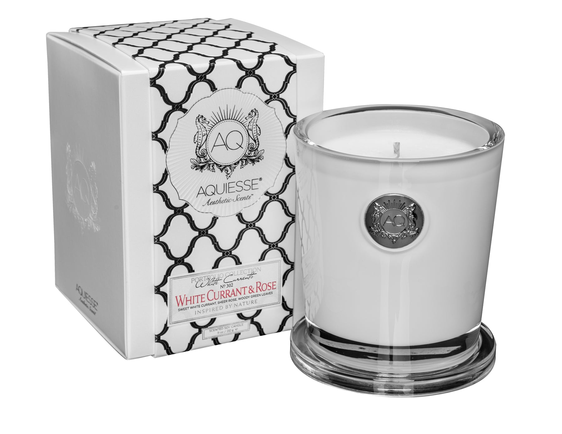 White Currant And Rose Large Soy Candle Gift Box By Aquiesse Tuftd