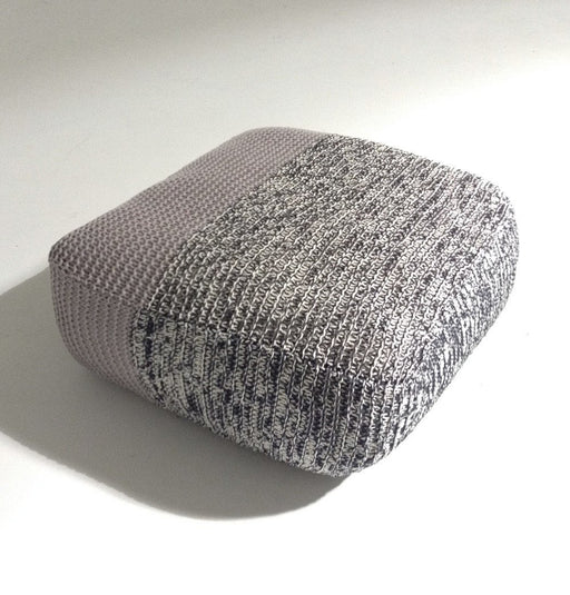 Handmade Knitted Floor Cushion | Mottled Grey & Ashes Of Roses
