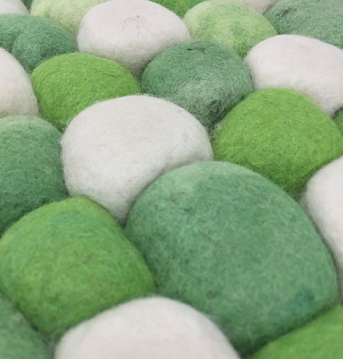 Handmade Woolen Pebble Pouf | Green