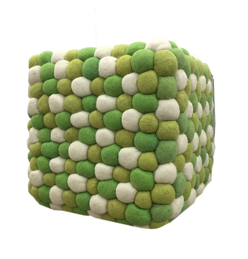 Handmade Woolen Pebble Pouf | Lime Green