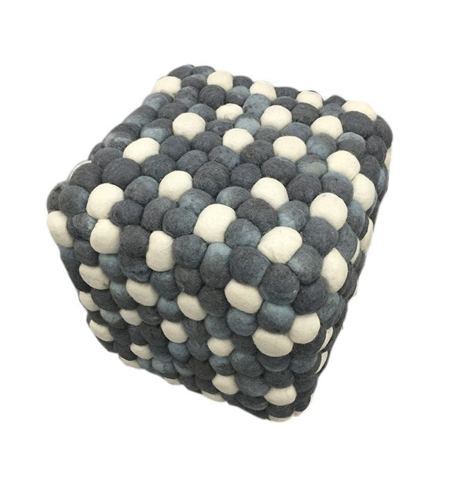 Handmade Woolen Pebble Pouf | Grey Blue
