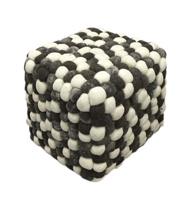 Handmade Woolen Pebble Pouf | Grey Dark