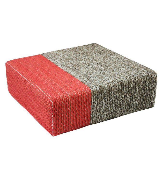 Ira - Handmade Wool Braided Square Pouf | Natural/Living Coral | 90x90x30cm