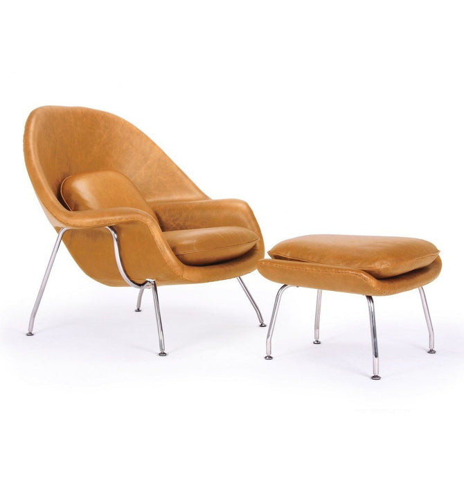 Daire Chair & Ottoman - Leather