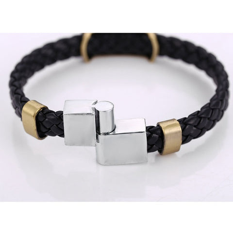 Naruto black leather braided magnetic bracelet