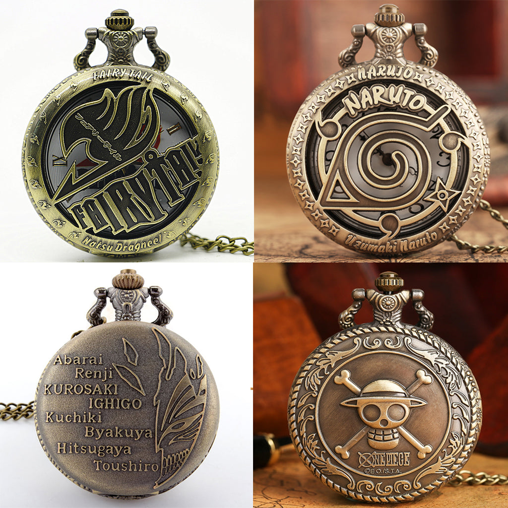 Classic Anime Pocket Watches: One Piece Naruto Bleach Fairy Tail