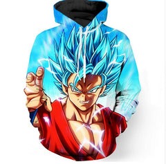 Dragon Ball Blue Vivid Print Hoodie