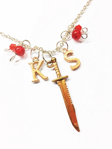 Killing Stalking: K S Bronze Real Metal Knife Charmed Necklace