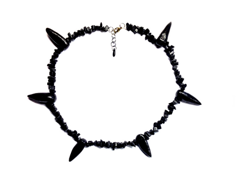 Pain Necklace Naruto (Pein/Yahiko) REAL Gemstone Chippings - Apatite Black