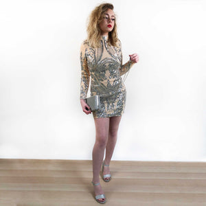 Long Sleeve Premium Embellished Dress