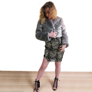 Grey Crop Faux Fur Coat