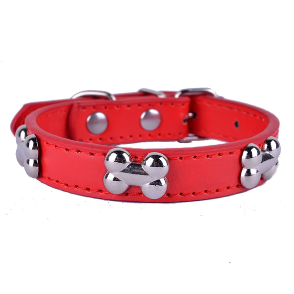Red Dog Collar In Leather