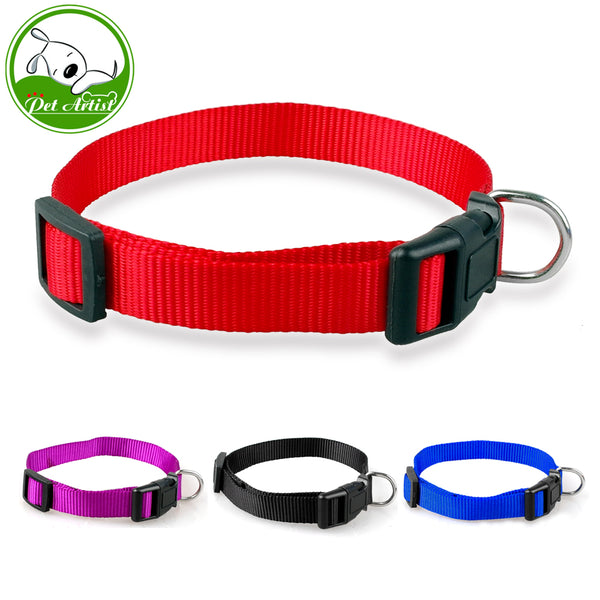 Red Blue Black Dog Collar Soft Nylon