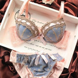Fashion Sexy Lingerie Bra Brief Sets Three-row Lace Embroidery Underwear Sexy Young Girl Bra Set France Brand Bra Sets,Big Cup B