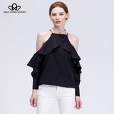 halter neck off shoulder ruffles long-sleeved blouse
