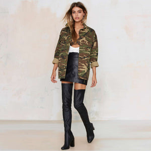 Camouflage Stand Collar Pocket Long Sleeve Zipper Jacket
