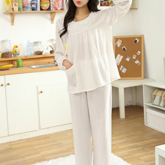 O-Neck Long Sleeve Lace Sleepwear Pajamas Cotton Breathable