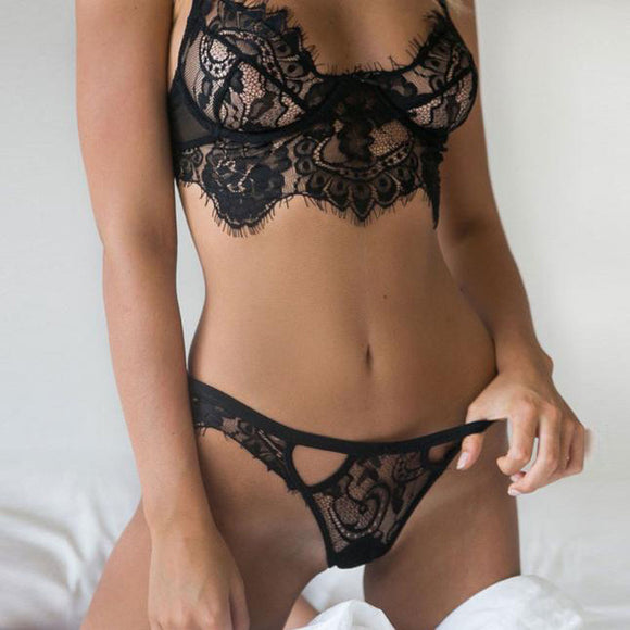 Black White Lace Bra+G-string Set