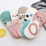 5 Pairs/lot Women Socks Candy Color Small Animal Cartoon Pattern Boat Sock
